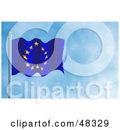 Royalty Free RF Clipart Illustration Of A Waving Europe Flag Against A Blue Sky
