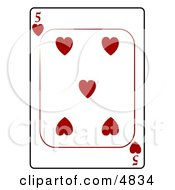 Five5 Of Hearts Playing Card Clipart by djart