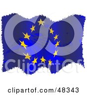 Royalty Free RF Clipart Illustration Of A Grungy Europe Flag Waving On White