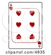 Six6 Of Hearts Playing Card Clipart by Dennis Cox