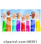 Royalty Free RF Clipart Illustration Of A Diverse Group Of Handy Hands Waving