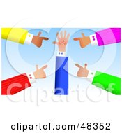 Royalty Free RF Clipart Illustration Of Handy Hands Blaming Another by Prawny
