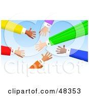 Royalty Free RF Clipart Illustration Of Handy Hands Reaching Out For Deals by Prawny