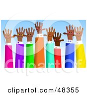 Royalty Free RF Clipart Illustration Of An Asian Group Of Handy Hands Waving by Prawny