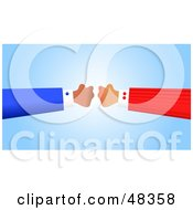 Royalty Free RF Clipart Illustration Of Two Handy Hands Baring Fists