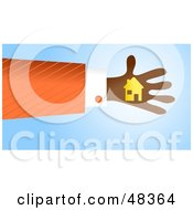 Royalty Free RF Clipart Illustration Of A Handy Hand Holding A Home