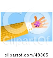 Royalty Free RF Clipart Illustration Of A Handy Hand Holding A Purple Jigsaw Puzzle Piece