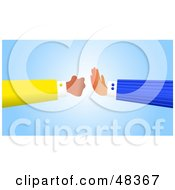 Royalty Free RF Clipart Illustration Of A Handy Hand Stopping A Fist
