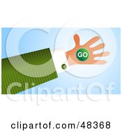 Royalty Free RF Clipart Illustration Of A Handy Hand Holding A Go Sign