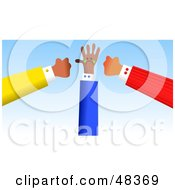Royalty Free RF Clipart Illustration Of Two Handy Hands Ganging Up On Another by Prawny