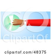 Royalty Free RF Clipart Illustration Of A Handy Hand Holding A CD Or DVD