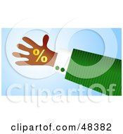 Royalty Free RF Clipart Illustration Of A Handy Hand Holding A Percentage Symbol