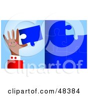 Royalty Free RF Clipart Illustration Of A Handy Hand Holding A Puzzle Piece