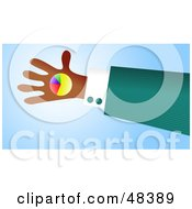 Royalty Free RF Clipart Illustration Of A Handy Hand Holding A Pie Chart by Prawny