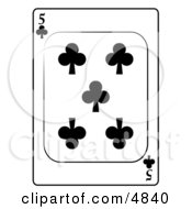 Five5 Of Clubs Playing Card