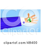 Royalty Free RF Clipart Illustration Of A Handy Hand Holding A Globe