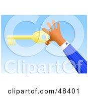 Royalty Free RF Clipart Illustration Of A Handy Hand Holding A Skeleton Key by Prawny