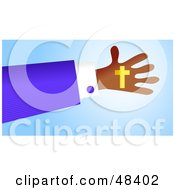 Royalty Free RF Clipart Illustration Of A Handy Hand Holding A Christian Cross