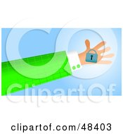 Royalty Free RF Clipart Illustration Of A Handy Hand Holding A Padlock by Prawny