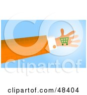 Royalty Free RF Clipart Illustration Of A Handy Hand Holding A Shopping Cart by Prawny