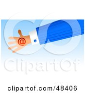 Royalty Free RF Clipart Illustration Of A Handy Hand Holding A Red At Symbol