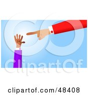 Royalty Free RF Clipart Illustration Of A Handy Hand Pointing At A Smaller Hand by Prawny