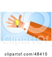 Royalty Free RF Clipart Illustration Of A Handy Hand Holding A Light Bulb by Prawny