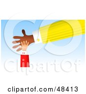 Royalty Free RF Clipart Illustration Of A Little Handy Hand Resting On A Big Hand by Prawny