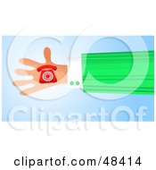 Royalty Free RF Clipart Illustration Of A Handy Hand Holding A Red Phone by Prawny