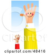 Royalty Free RF Clipart Illustration Of A Handy Hand And Assistant Waving