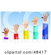 Royalty Free RF Clipart Illustration Of A Handy Hand Bar Graph Showing Growth
