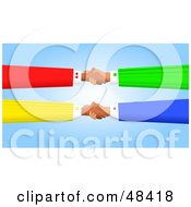Royalty Free RF Clipart Illustration Of Handy Hands Shaking And Double Dealing by Prawny