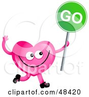 Pink Love Heart Holding A Green Go Sign