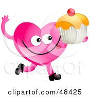 Royalty Free RF Clipart Illustration Of A Pink Love Heart Eating A Cupcake by Prawny