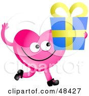 Pink Love Heart Holding A Gift