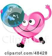 Royalty Free RF Clipart Illustration Of A Pink Love Heart Holding A Globe Featuring Europe by Prawny