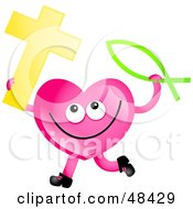 Pink Love Heart Holding A Christian Cross And Fish
