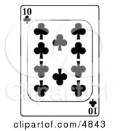 Ten10 Of Clubs Playing Card
