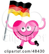 Pink Love Heart Waving A German Flag