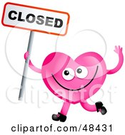 Pink Love Heart Holding A Closed Sign