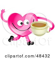 Pink Love Heart Drinking Coffee