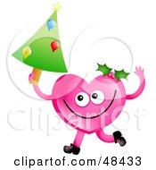 Pink Love Heart Holding A Christmas Tree