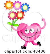 Pink Love Heart Holding Flowers