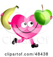 Royalty Free RF Clipart Illustration Of A Pink Love Heart Eating A Banana And Apple by Prawny