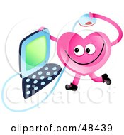 Pink Love Heart Using A Computer