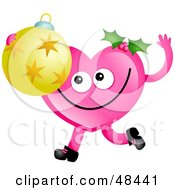 Pink Love Heart Holding A Christmas Ornament