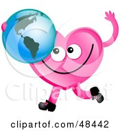 Pink Love Heart Holding A Globe Featuring America