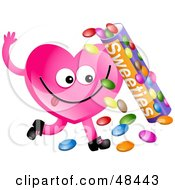 Royalty Free RF Clipart Illustration Of A Pink Love Heart Eating Candy