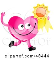 Royalty Free RF Clipart Illustration Of A Pink Love Heart Holding A Medal