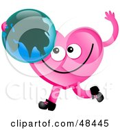 Royalty Free RF Clipart Illustration Of A Pink Love Heart Holding A Globe Featuring Asia
